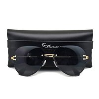 SunglassesWomens rimless sunglasses, luxury brand, pilot designer, gradient tone, with sheath