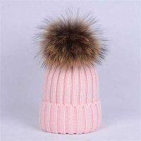 Fashion Wholesale beanie New Winter caps Hats Women bonnet Thicken Beanies with Real Raccoon Fur Pompoms Warm Girl Caps pompon beanie