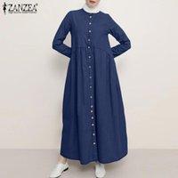 Casual Dresses Stylish Demin Blue Shirt Dress Women's Muslim Sundress ZANZEA 2021 Long Maxi Vestidos Female Button Robe Femme Oversized