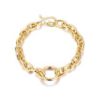 Round opening adjustable necklace Trendy Iron Thick Chain Circle Miami Cuban Link Chains Necklaces Womens Hip Hop Jewelry