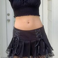 Skirts 90s Aesthetic Black Pleated For Teen Girls Y2k Punk Low Wasit Lace Up Mesh Trim Bow Gothic Grunge Skirt Femme Jupes