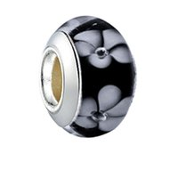 Top Quality Murano Lampwork Glass Brankwork 925 Bianco argento Bianco fiore su Bianco Bianco Big Hole Branelli allentati Fit European Pandora Charms Braccialetto collana gioielli fai da te
