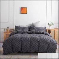 Bedding Supplies Textiles & Gardenbedding Sets Classic Simple Set 7 Size Violet Caramel Solid Bed Linen 4Pcs Set Duvet Er Sheet Side Home Te
