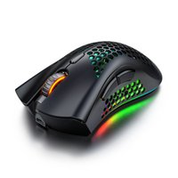 A3 Wireless Mouse Hollow-Out Gaming RGB Mice Backlit Light Game Optical Computer for Laptop Pc Black