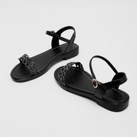 Sandals Sianie Tianie 2021 Summer Genuine Leather Woman's Shoes Bohemian Bling Crystal Glitter Casual Flats For Women Size 34-43
