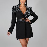 Long Black Women Coats Diamond Sleeve Ladies Femme Mujer Causal Office Work Business Fashion Slim Elegant Outwear Women's Jackets