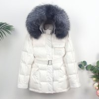 OFTBUY 2021 Fashion Winter Jacket Women Real Natural Silver Fox Fur Collar Hooded 60% White Duck Down Coat Thick Warm Outerwear
