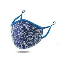 디자이너 얼굴 마스크 조정 가능한 귀 버클 밝은 빛나는 다이아몬드 라인 석 마스크 통기성 방진 세척 가능한 입 커버 AHC7201
