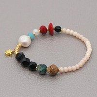 Pulseira de pedra natural de go2boho para mulheres fashion estrela charme pulseiras boho jóias cristal real pérola pulsera jóias link, cadeia