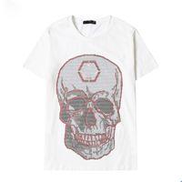 코튼 크리스탈 두개골 디자이너 티셔츠 망 여름 곰 티셔츠 기본 단색 인쇄 편지 스케이트 보드 캐주얼 펑크 티 여성 Shir
