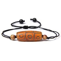 Branelli di alta qualità naturale tibetan dzi agat perline intrecciata Braccialetto Geometrico Pietra Geometrica Black Corda Regolabile Gioielli di fascino regolabile Unisex Beaded, Fili