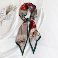 Симулятор Silk Twill Track Fabric Print Цветочный узор Шарф Streamer Headband Lady Luxury Brand