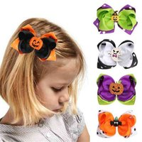 2021 Fashion Children's Halloween Funny Double Color Matching Barrette Hair Pin Cute Baby Bow With Pumpkin Ghost Kids Hairpin Hair Clip G96U428