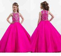 Hot Rosa funkelnde Prinzessin Ballkleid Mädchen Pageant Kleider für Jugendliche Bodenlangen Kinder Formale Trageballkleider mit Perlenrasston