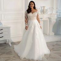 Vintage Plus Size Bohemian Wedding Gowns 2022 3D Floral Lace Appliques Covered Button Back Long Sleeve Garden Bridal Dresses Robes De Mariee