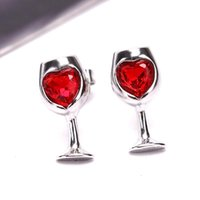 Stud Red Color Crystal Cubic Zircon Love Stone Cut Wine Glass Style Earrings For Women Party Jewelry Valentines Day Gift Fashion