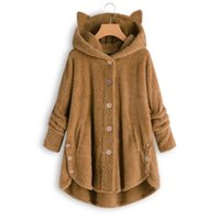 Mujeres felpa con capucha sudaderas Harajuku chaqueta dobladillo irregular mujer esponjoso abrigo de vellón kawaii gato oreja botones sólido hembra peluche abrigo homewear
