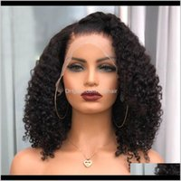 Productsindian Kinky Curly Short Bob 180Density Silk Top Full Human With Baby Hair Pre Plucked 360 Lace Frontal Wigs Drop Delivery 2021 Pgxi