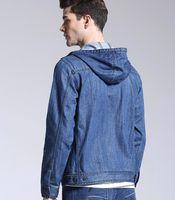 Мужская мода 2021 капот молния джинсовая куртка чистый хлопок синий джинс с шляпой мужчина ковбой верхняя одежда весенние повседневные мужские куртки