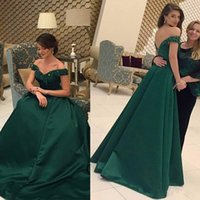 2021Formal Long Hunter Green Prom Dresses Beaded Off the Shoulder Satin A Line Sera Sera Abiti da celebrità Custom Made Festa Party Dress