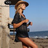 NewAsia Knit Beach Vestido Mujer ahueca hacia fuera sexy color sólido en v cuello negro túnica de verano damas de verano fiesta de fiesta ropa de baño cubierta de traje de baño 210413