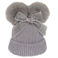 Baby Stuff Double Pompom Hat Winter Knitted Kids Girl Hats Warm Thicker Children Infant Beanie Cap Bonnet Casquette Enfant