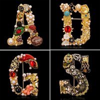 Pins, Brooches Creative Gold Color Pearl Letter For Women Enamel A D G S Rhinestone Flower Design Pins Gift Jewelry Accessories