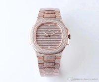 TW كامل الماس البلاتين الإصدار 5719/1 جرام montre de luxe 324c حركة الساعات للماء 50M الماس ووتش سمك 10 ملليمتر