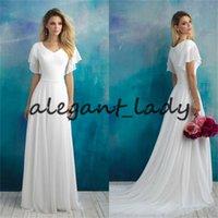 Скромные шифон пляж свадебные платья с рукавами простой дизайн гаева шеи полная спина греческая богиня богемная страна свадьба