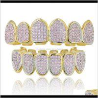 Grillz Dental Grills Authentic Goldplaid Microinlaid Hop Dents Rose Zircon Support Big Gold Tooth Bijoux FPYKG NJLQT