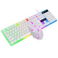 TF230 teclado com fio 104 chaves mouse 3 dois em um combos, preto e branco profissional para iluminação de jogo