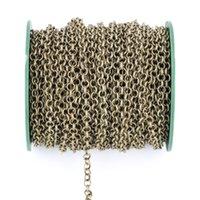 5m / lote 2 mm 2.5mm Collar Cadenas Rolo Cadenas Bulk Collar Hallazgos Gold Silver Color Metal Iron Link Link Cadenas Para Joyería Fabricación 1487 Q2