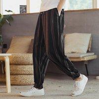 Herrenhose Herbst 2021 Chinesische Stil Baumwolle gestreifte Freizeitmaterial in Leinen Hosen