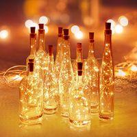 Luzes de garrafas de vinho de guirlanda de bateria de pilhas com cortiça 2m 20 LED fio de cobre corda de fada colorida para decoração de casamento de festa