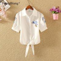 Tuangbiang 2021 Половина рукава Летняя вышивка Рубашки Женщины Флористические корпусы Топы Голубой Цветок Белая Птица Полосатый Кружева Свободная Блузка Женщины Blou