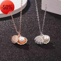 S925 Ayar Gümüş Kabuk Kolye Kadın Klavikula Zincir Mizaç Sektörü Inci Conch Kolye