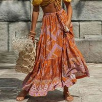 TEELYNN Maxi Rock Orange Baumwolle Floral Print Split Sexy Sommer Vintage Strand Beiläufige Kleidung Böhmische lange Frauen Röcke