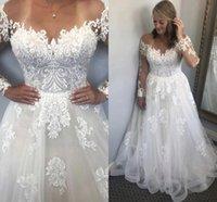 Sheer Neck Illusion Long Sleeve Wedding Dresses Bridal Gowns Flower Pattern Appliques Lace A Line Vestido De Noiva 2022 Spring Charming
