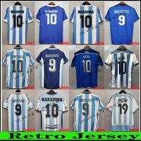 1986 Argentinien Retro Maradona Fussball Jersey Messi Caniggia 78 96 Fußball-Hemd 94 98 06 10 14 Batistuta Riquelme Ortega Crespo Classic Uniform
