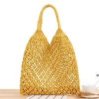 Bolsa de paja Handmade Net Beach Bolsos Color Sólido Cuerda de algodón Mujeres Bolsas de un solo hombro Vacaciones Viajes Tiempo tejido DHA5074