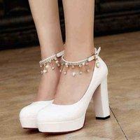 Femmes blanches Chaussures de mariage Crystal Preal Bracelet de la cheville Bridal Femme Robe Sey Pompes Sweet Party Y10342 210610 H2IF