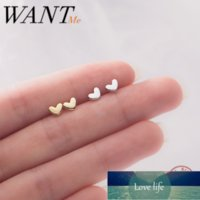 WANTME Trendy Minimalist Real 100% 925 Sterling Silver Mini Small Love Heart Stud Earrings for Women Student Teen Jewelry Gift