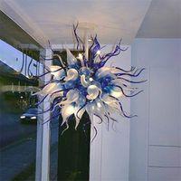 Современные лампы шариковые люстры 36-дюймовые ручные взорванные стекла светло-современный светодиодный хрустальный люстр для спальни живущая столовая домашняя интерьер