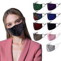 Mermaid Sequins Women Face Mask 3-ply Cotton Shiny Sequin Dustproof Face Mask Fashion Lady Bling Bling Washable Durable Mouth Cover 13 Style