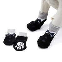 Dog Apparel Winter Warm Indoor Pet Cat Knitted Shoes Thick Soft Bottom Cotton For Small Dogs Cats Anti-Slip Socks Supplies