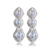 Dangle & Chandelier Deluxe Women Long Earrings With Jet And Clear Oval Cubic Zirconia Rhodium Gold Plated Fashion Big Earring For Party
