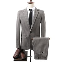 Men's Suits & Blazers (Jacket+Pants)2021 Men Suit Stripe Sheet Buckles 2 PCS Set Male Wedding Groom Slim Fit Standerd Size Blazer Mens Tuxed