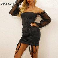Articat Mesh Sleeve Drawstring Dress Women Back Spring Women Night Club Mini Dress Skinny Elegant Off Shoulder Vestidos 210604