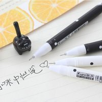 Gel Pens 2pcs Cartoon Cat Long Tail Black Ink Pen Stationery School Supplies Kids Gift 0.38mm