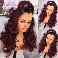 Lace Wigs Dark Red Color 4x4 Closure Wig Wavy Human Hair For Women Brazilian Remy 180% With Baby